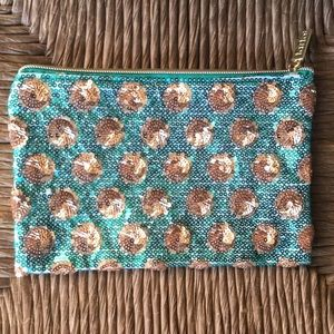 Sparkly Tarte Turquoise Gold MakeUp Accessary Bag